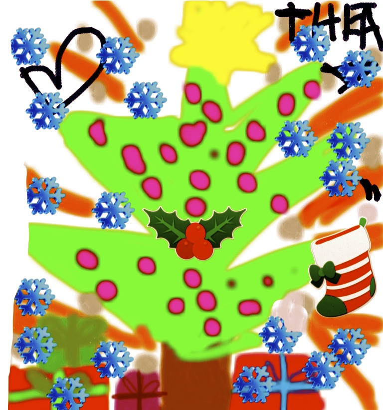Alle ønskes en glædelig jul 2012. Tegning: Thea Grønholt