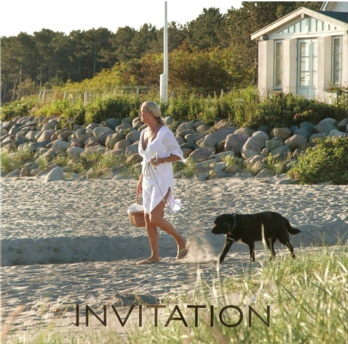 Front page of the official invitation to Ilse Jacobsen's 20th jubilee celebration on Hornbæk Beach.