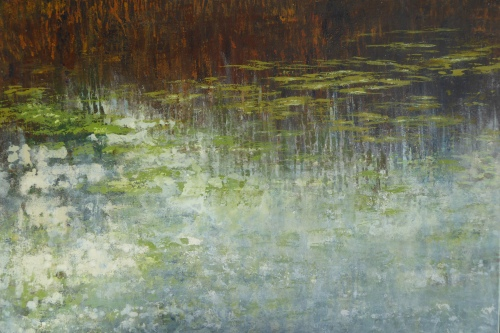 Ada Schellers landskaber indeholder flere dimensioner, hvor lysets leg med motivet eller disen, der fornemmes, giver beskueren en følelsesmæssig oplevelse af selv at være til stede. Foto: Galleriet Hornbæk.