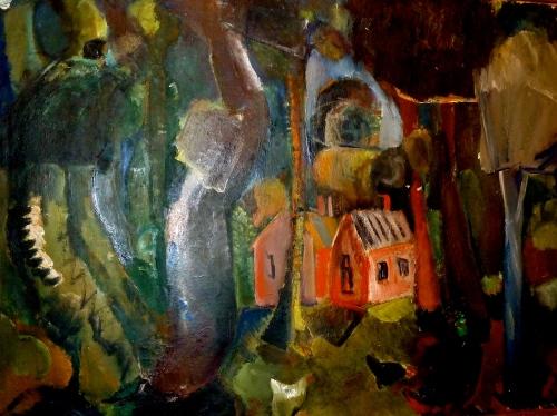 Oliemaleri fra 1925 af kunstneren Ebba Carstensen1885-1967). Motivet er fra Horneby. Foto: Lotte Lund.